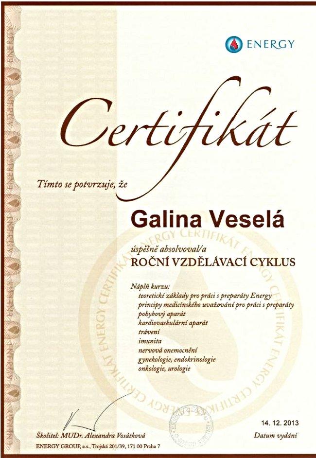 -Certifikát ENERGY